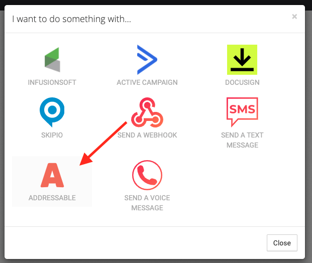Arrow pointing to Addressable Icon