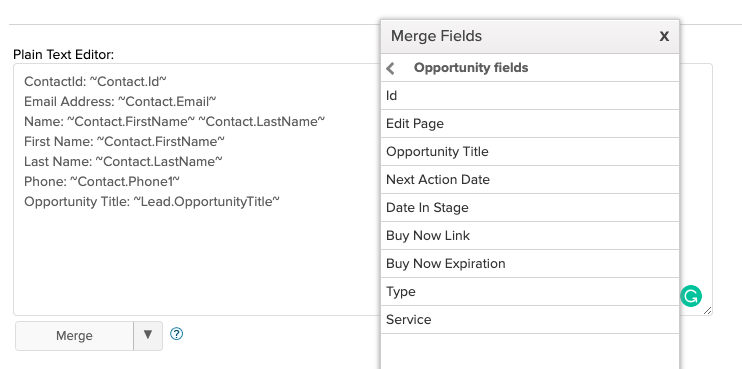 merge fields